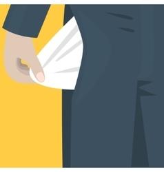 empty pocket sticks out trousers bankrupt vector image