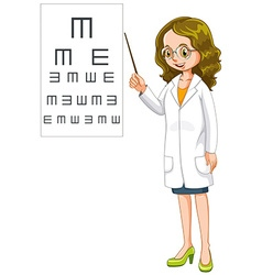 Eye doctor pointing at the chart vector image