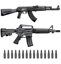 Firearms set automatic machine gun vector