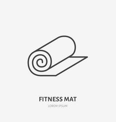 Fitness mat roll flat line icon yoga carpet sign vector