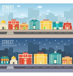 Flat colorful sity buildings set Icons background vector image