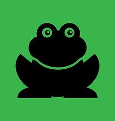 Flat frog on green background vector image