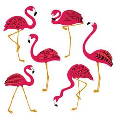 folk patterned flamingo icons set vector image