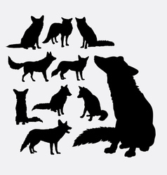 Fox wild animal silhouettes vector image