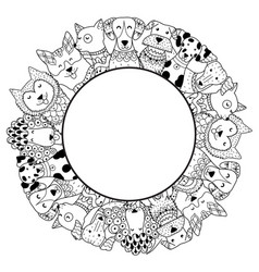 Frame with funny dogs for coloring page vector
