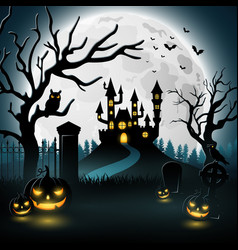 halloween background with castle and scary pumpkin vector image