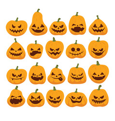 halloween funny and scary pumpkins vector image