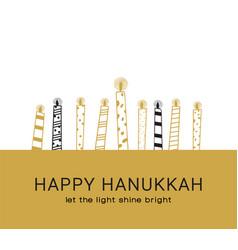 hanukkah greeting card jewish holiday symbols vector image
