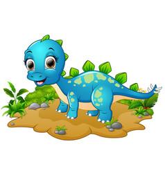 Happy blue dinosaur cartoon vector