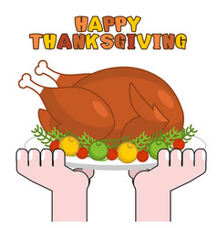 Happy thanksgiving turkey cooking roast fowl on vector
