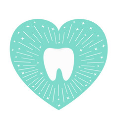 Healthy tooth icon heart shape round line circle vector