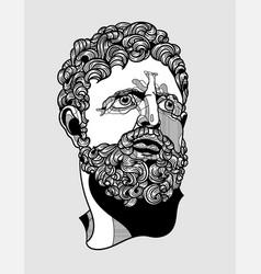 Hercules portrait sculpture vector