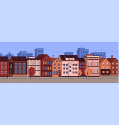 horizontal urban landscape or cityscape with vector image