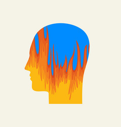 human head in profile with a fire stress icon vector image