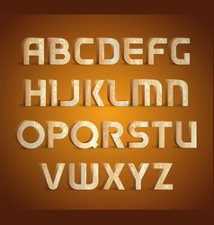 Isolated geometric wood texture font 3d wooden vector