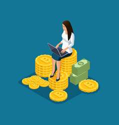 Isometric business lady sits on a large pile of vector