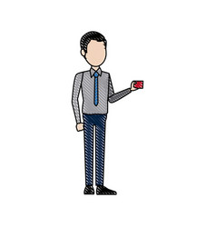 man character standing holding card image vector image vector image