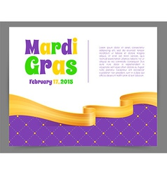 Mardi Gras background with ribbon vector