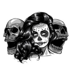 monochromatic sugar skull girl face with make up vector image