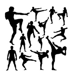 muay thai martial art silhouettes vector image