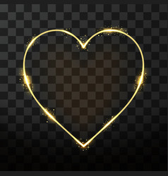 neon frame in heart shape on transparent vector image