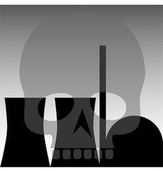 Nuclear power station skull grey vector