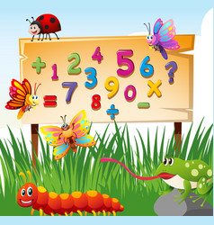 numbers on board and many insects vector image