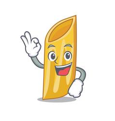 Okay penne pasta character cartoon vector