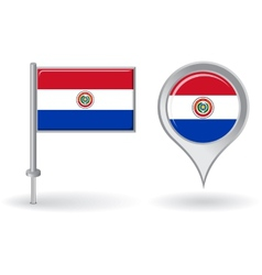 Paraguayan pin icon and map pointer flag vector image