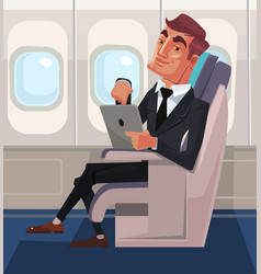 Passenger man character sitting chair and relax vector