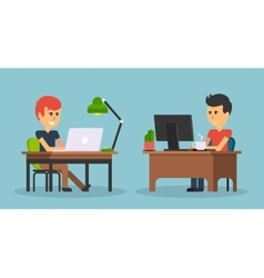 People Work in Office Design Flat vector image