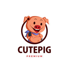 pig thumb up mascot character logo icon vector image