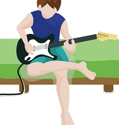 Playing a guitar vector image