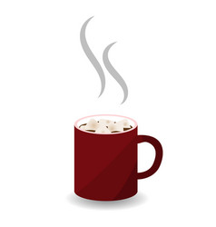 red mug of hot chocolate vector image