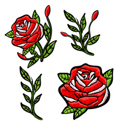 Red roses embroidery patch for textile design vector