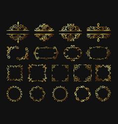 Retro golden frames vintage gold borders vector