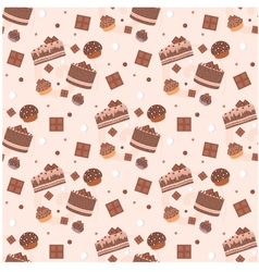seamless chocolate cakes pattern vector image