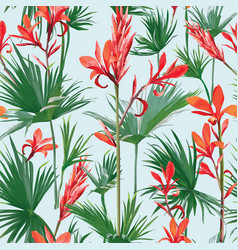 Seamless flowers and palm leaves background vector