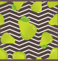seamless pattern with pears and leaves vector image