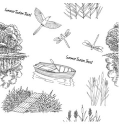seamless pattern with with boat and trees vector image