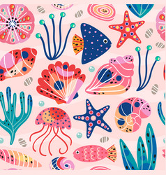 Seamless pattern withunderwater sea life vector