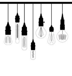 Set edison loft lights retro lamp for design vector