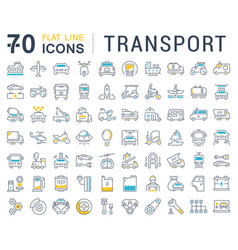 set flat line icons transport vector image