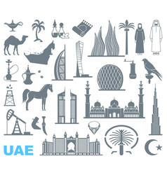 set icons united arab emirates vector image