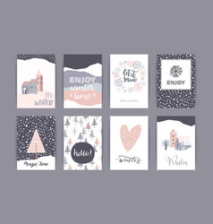 Set of artistic creative winter cards vector