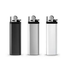 Set of blank black white plastic metal lighters vector