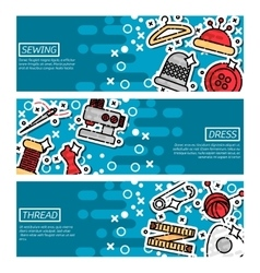 Set of Horizontal Banners about sewing vector