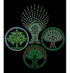 set of templates with trees for Badges stamps vector image
