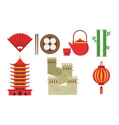 set of with chinese culture elements vector image