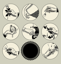 set round images in vintage engraving style vector image